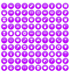 100 favorite food icons set purple vector image
