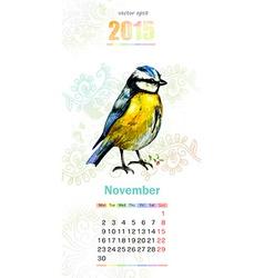 calendar for 2015 november vector image vector image
