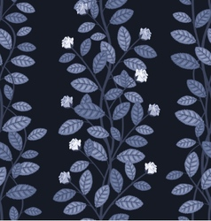 Seamless floral pattern on blue background vector image vector image