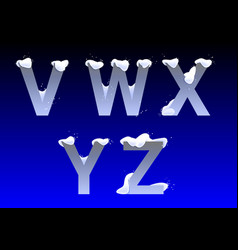 v w x y z letters with snow caps vector image