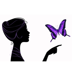 beautiful girl silhouette with butterfly vector image vector image