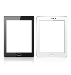 Black and White tablet pc computer with blank vector image
