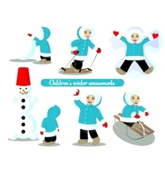 Children winter amusements vector image vector image