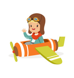 cute little boy in pilot costume flying toy plane vector image