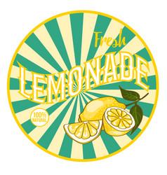 flat bright healthy lemonade round sticker vector image
