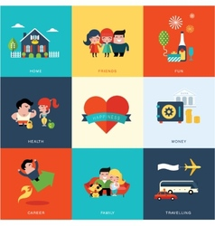 Happiness set vector image vector image