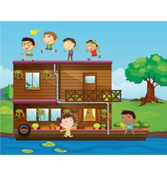 kids playing near a houseboat vector image vector image