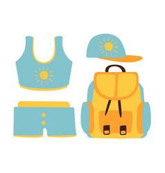 shorts top cap backpack women beach vector image