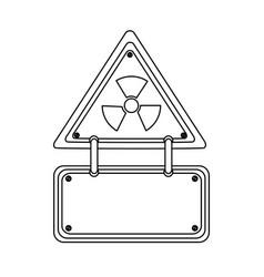 silhouette metal emblem warning radiation notice vector image