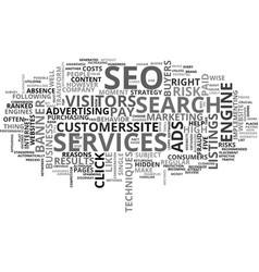 Why choose seo services text word cloud concept vector
