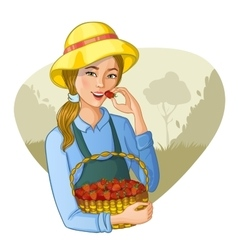Woman with basket of strawberries vector image vector image