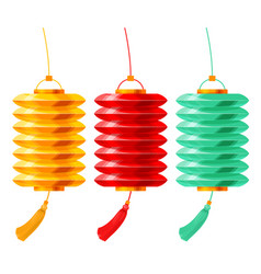 Chinese paper lanterns set vector