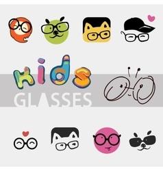 logos for children glasses vector image vector image