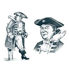 pirate portrait captain man on ship traveling vector image