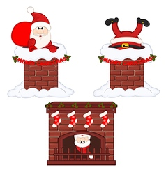 Santa Claus inside chimney and fireplace vector image vector image