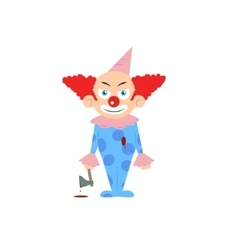 Scary halloween clown holding axe with blood vector image