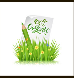 100 organic grass letting vector image