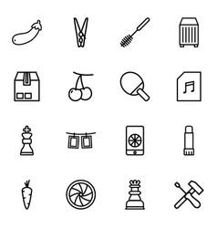 16 closeup icons vector image