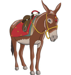 a donkey with a saddle vector image