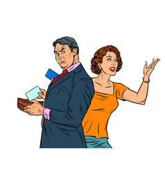 a man and a woman pay for a purchase vector image