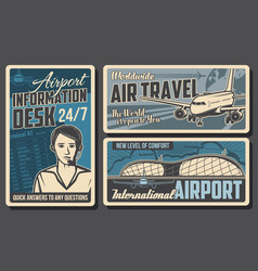 airport information desk airplane retro posters vector image