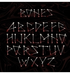 Alphabet made of crossed white bones vector image