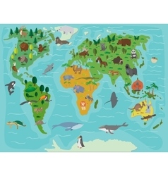 Animal world Funny cartoon map vector