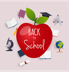 Back to school with apple and books vector