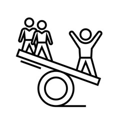 balance fight line icon concept sign outline vector image