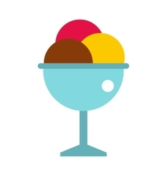 Balls of ice cream in a cup icon flat style vector image