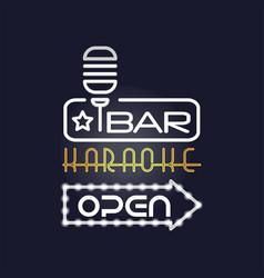 Bar karaoke retro neon sign vintage bright vector