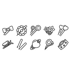 Barrette icons set outline style vector