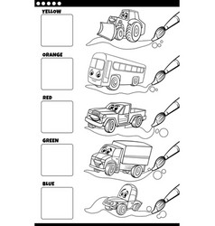 basic colors with cartoon vehicles coloring book vector image