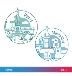 Biggest cities of France Paris and Marseille One vector image