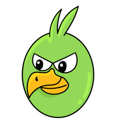 Bird head emoticon with angry expression doodle vector