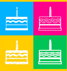 birthday cake sign four styles of icon on four vector image
