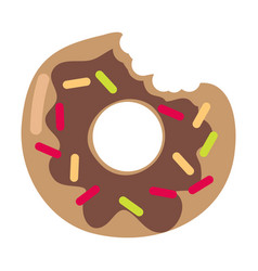 Bitten donut logo isolated doughnut sticker vector
