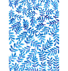 blue and purple tropical fern watercolor wallpaper vector image