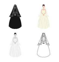 Bride in a beautiful wedding dresswedding single vector
