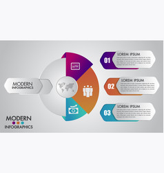 business infographics template for 3 options vector image