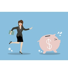 Business woman try to catch piggy bank vector