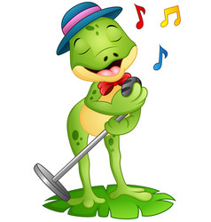 Cartoon frog singing on a leaf vector