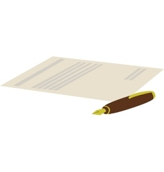 cartoon of pen with contract vector image