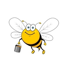 Cartoon smiling bee flying with honey bucket vector image