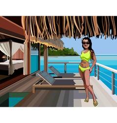 Cartoon woman in a bikini standing on the terrace vector