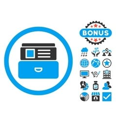 Catalog Flat Icon with Bonus vector