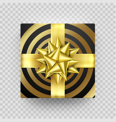 christmas gift box present golden ribbon bow foil vector image
