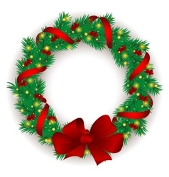 Christmas wreath with baubles and tree vector image