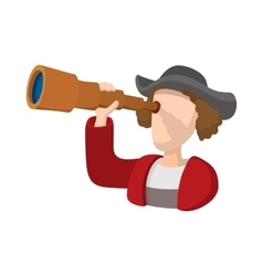 Christopher Columbus costume with spyglass icon vector image