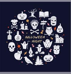 Circular template halloween postcard decoration vector